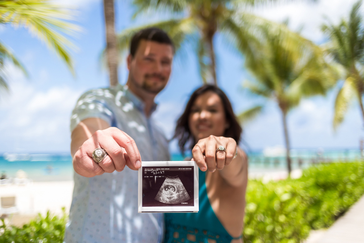 Pregnancy Announcement Photo at Cozumel Baby Moon by Adventure Photos