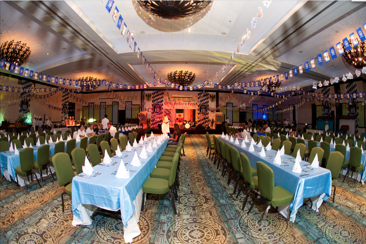Resort hall set up for company business dinner. Event captured by adventure photos