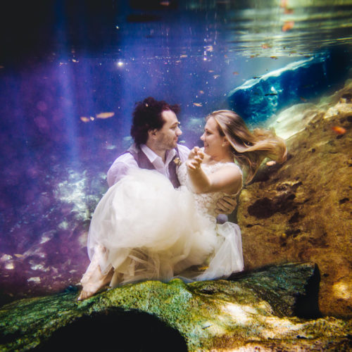 Vibrant trash the dress photo of bride and groom underwater in tropical waters
