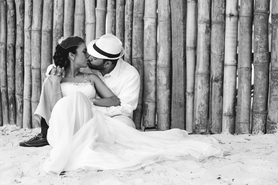 Intimate destination wedding photo of bride and groom in black and white