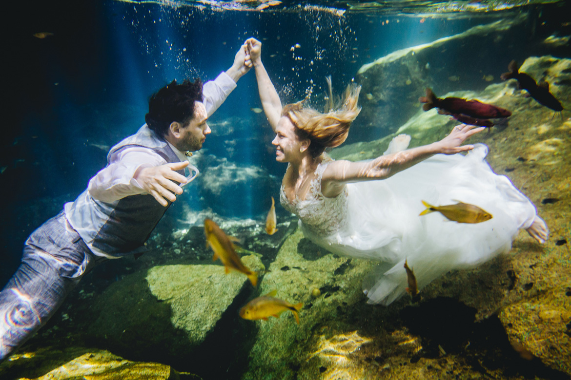 Underwater trash the dress photo shoot by Adventure Photos