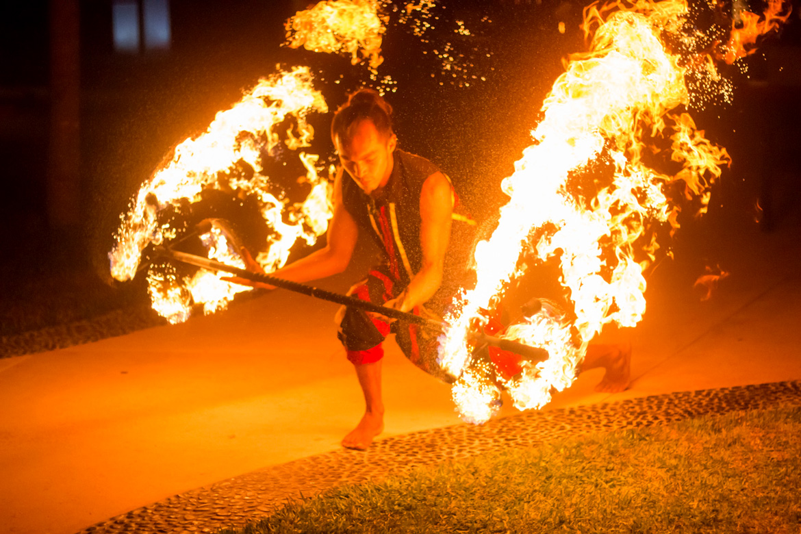 Fire dancer as entertainment at corporate event photographed by Adventure Photos