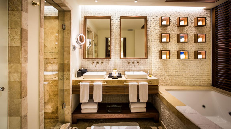 Interior photography of luxury hotel bathroom captured by Adventure Photos