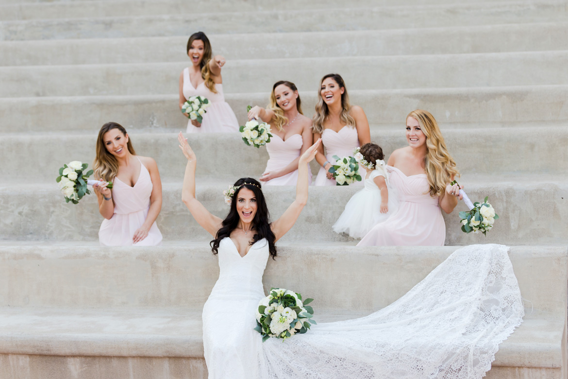 Unique bridal party photo of bride and bridesmaids at destination wedding