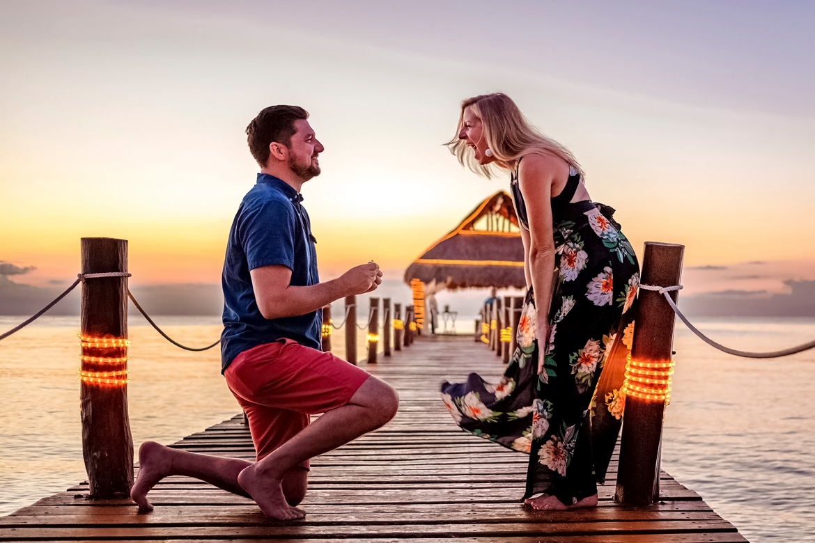 Engagement photo shoot on Secrets Aura Cozumel