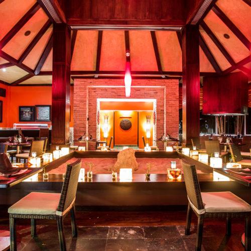 Interior photography of fine dining restaurant in resort