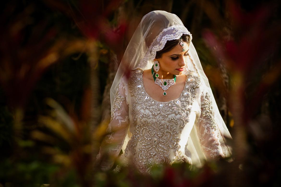 Stunning bridal portrait of bride at traditional Indian destination wedding