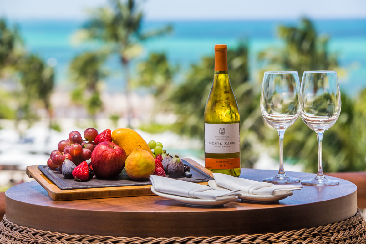 Product shot of a picnic dinner at a luxury tropical resort