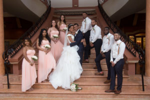 Formal Wedding Party On Stairs