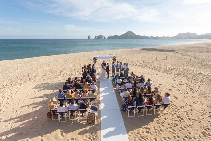 Aerial photograph of destination wedding ceremony captured by Adventure Photos