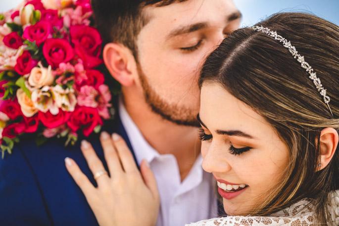 Close up bridal portrait of couple at their destination wedding