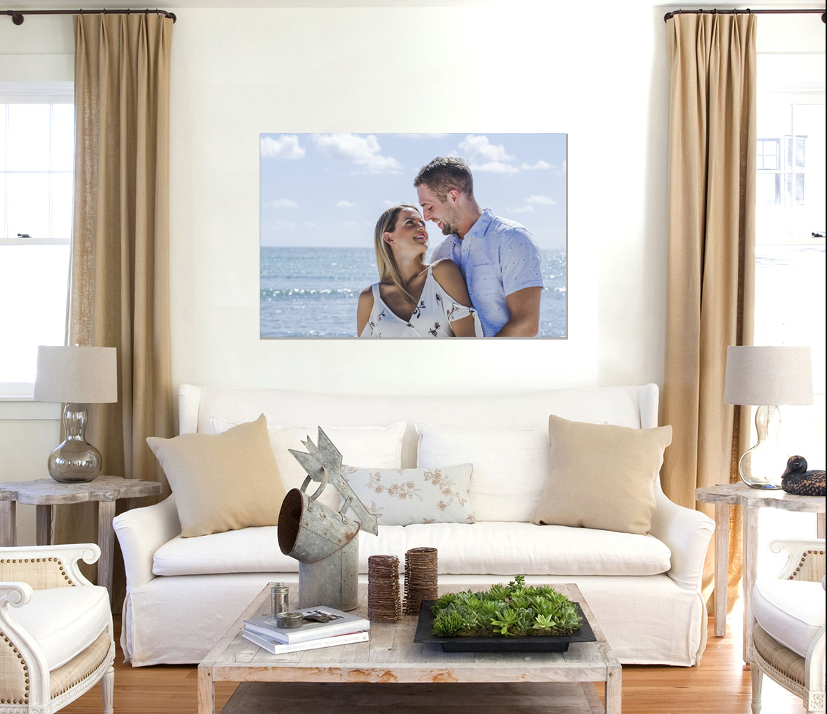 Canvas wall art of vacation photo of couple photographed and printed by Adventures Photo