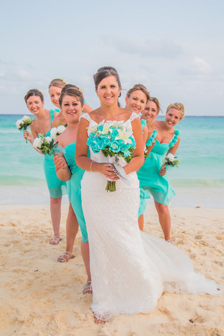 bridal party at a beach wedding