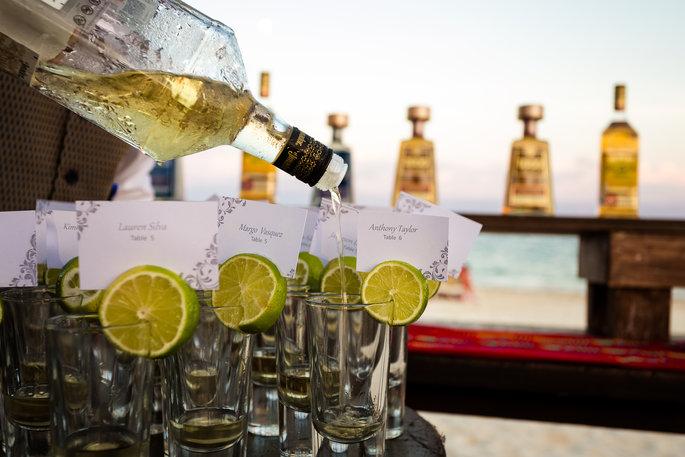 drinks on the beach at a beach wedding