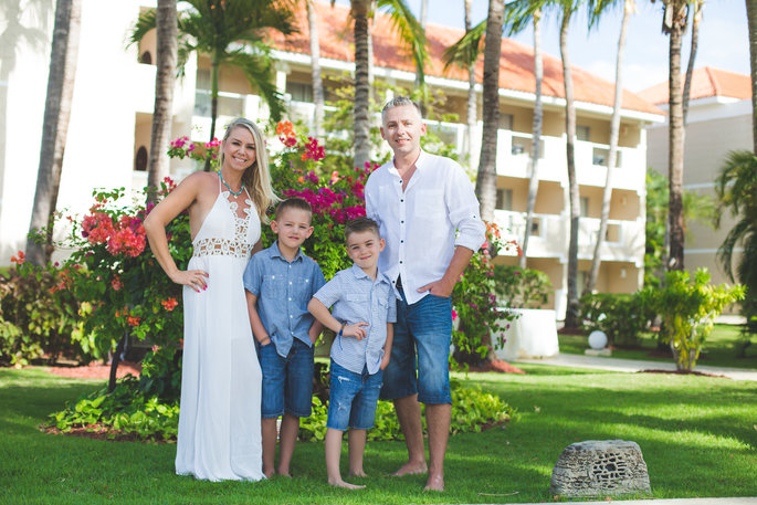 family photo on a beautiful resort