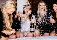 Candid Getting Ready Photo of Bridal Party with Champagne and Confetti take by Adventure Photos