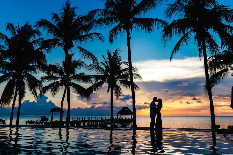 Sunset Couples Photo Shoot at Secrets Resorts by Adventure Photos