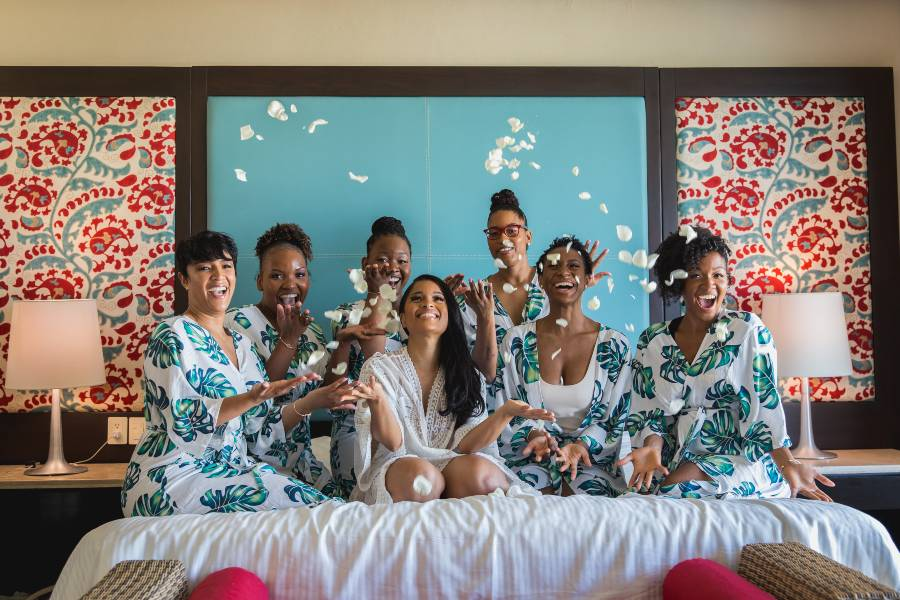 Bridal Party Getting Ready in Now Resort for Destination Wedding Photographed by Adventure Photos