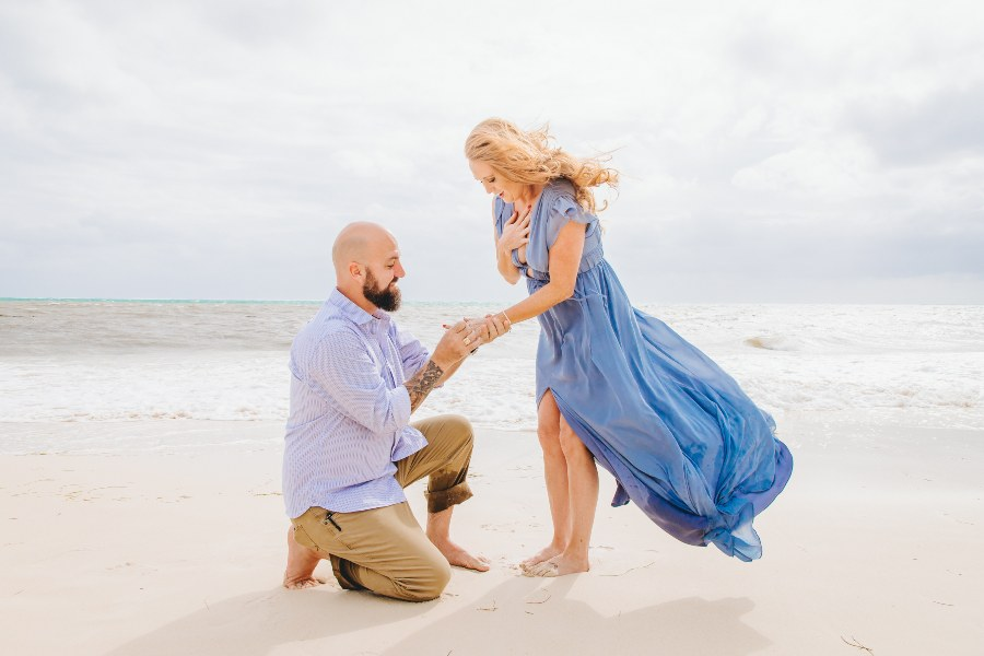 Couple Getting Engaged on Beach at Now Resort Photographed by Adventure Photos