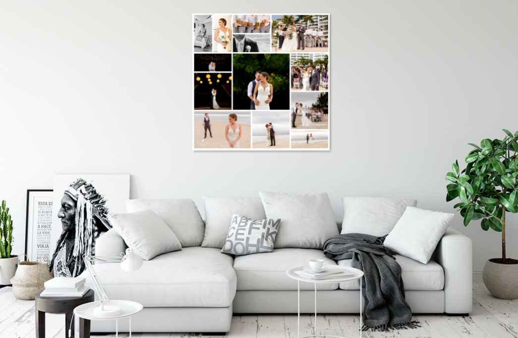 Canvas photo collage on wall in living room
