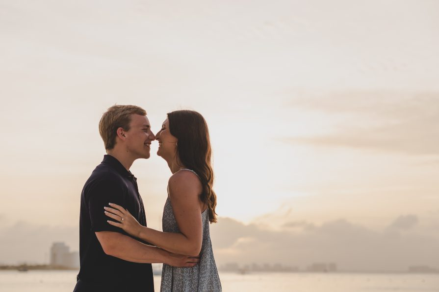 Sunset photo of Marisa & Alex during engagement session with Adventure Photos