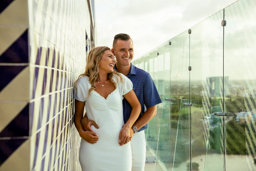 Couples photography session at Dreams Vista Resort in Cancun captured by Adventure Photos